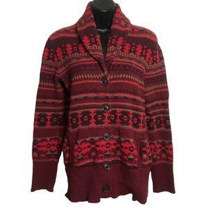 Eddie Bauer Aztec Print Button Up Cotton Cardigan